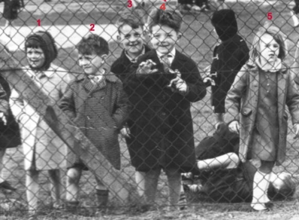 At the fence of Manor Park circa 1966 - 1. Lynn Bowman? - 2. Ian Mace - 3. ? - 4. Kevin (Nobby) Northage - 5. ?