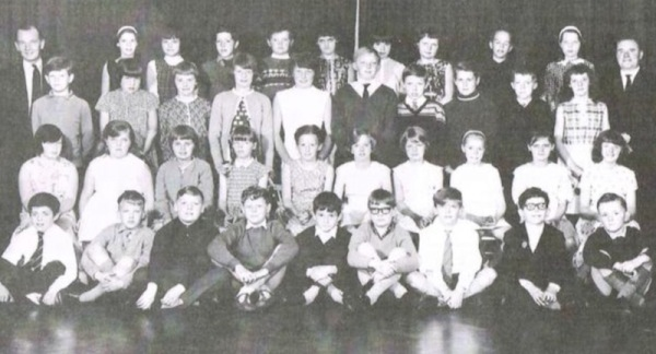 Sir John Sherbrooke circa 1966 - Back row, Mr Anderson, Susan Revill, Lynne Armstrong, Shane Slater, Keith Clamp, Lynne Peacock, Pam Stokoe, Jane Kopryko, Steven Checkley, Kath Mace, Mr Clifton 2nd row, Mick Lockwood, Hazel Roberts, Susan Keightley, Carol Hodgson, Glennis Titterton, Colin Sturman, Malcolm Duck, Keith Davison, ?, Diane Love 3rd row, Sharon Hallam, Beverly Inger, Pamela Hodgkinson, Jane ?, Margaret Parker, ?, Patricia ?, Marion Bell, Pauline Dixon, ?, 4th row, Tom Swan, Nigel Leafe, Terry Hope, Lee Swainston, Paul Northey, Barry Gilroy, Robert Jettison, Barry Tuck, George Scott.