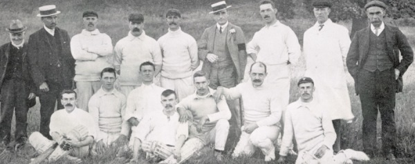 1910 - Back Row: R. Harrison, J. Parker, M. Harrison, S. Binch, J. Holloway, F.B. Smith, J.W. Meads, A. Hind, W. Morley - Front Row: R. Bradley, P. Bardill, J. Blood, H. Hind, L. Meads, J. Lamin, N. Hind