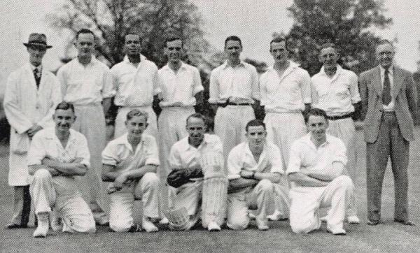 1948 - Back Row: P. Richardson (Umpire), B. Rogers, J.C.W. Rock, F. Morley, G. Binch, H. Catlin,  J. Wright, A.S. Turton (Hon. Sec.) - Front Row: R.H. Bardill, K.J. Poole, H.A. Poole (Capt.), H. Gretton, G.R. Poole.