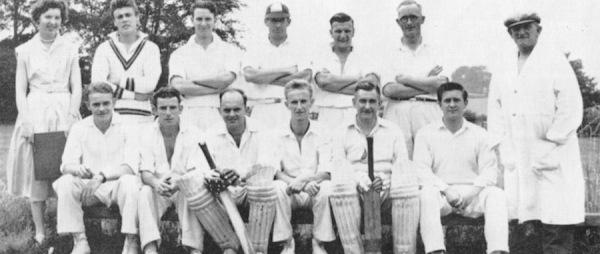 1955 - Back Row: Mrs H. Gretton (Scorer), D. Harrison, J. Clayton, R. Hunt, G. Annable, D. Cupitt,  R. Richardson (Umpire) - Front Row: D. Meads, H. Gretton, B. Rogers, R. Pickering, R. Bardill, D. Clayton.