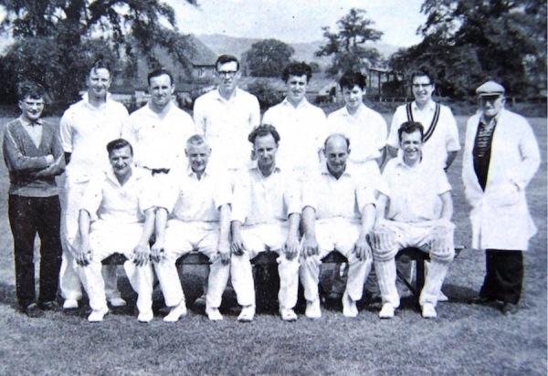 1964 - Back Row: D. New (Scorer), J. Clayton, R. Little, J. Berwick, K. Bland, K. Atkin, K. Barnes, R. Richardson (Umpire) - Front Row: G. Annable, G. Poole, R. Pickering (Capt.), K. Poole, R. Wright N.B: Between R. Pickerings legs is 'Whisky' Rex Little's Cairn Terrier.