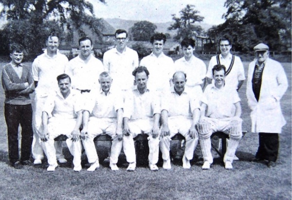 1964 - Back Row: D. New (Scorer), J. Clayton, R. Little, J. Berwick, K. Bland, K. Atkin, K. Barnes, R. Richardson (Umpire) - Front Row: G. Annable, G. Poole, R. Pickering (Capt.), K. Poole, R. Wright N.B: Between R. Pickerings legs is 'Whisky' Rex Little's Cairn Terrier.
