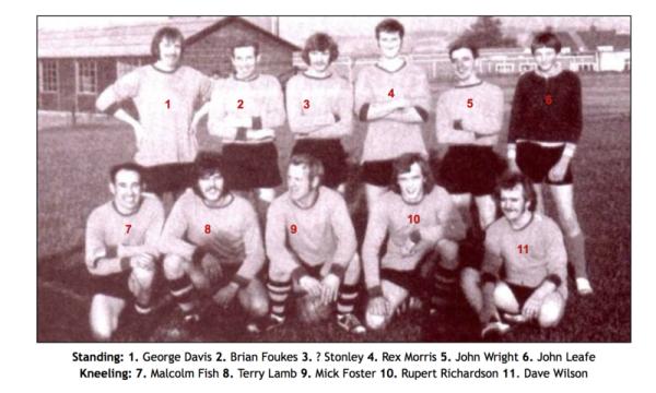 Colliery Inter-face team circa 1960s - Standing: 1. George Davis 2. Brian Foukes 3. ? Stonley 4. Rex Morris 5. John Wright 6. John Leafe Kneeling: 7. Malcolm Fish 8. Terry Lamb 9. Mick Foster 10. Rupert Richardson 11. Dave Wilson.