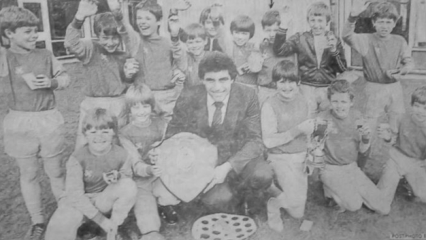St Wilfrids 1982 - The first football succes in the 95 year history of the school! Forest legend, Peter Shilton, presents the two trophies to the all-conquering team.