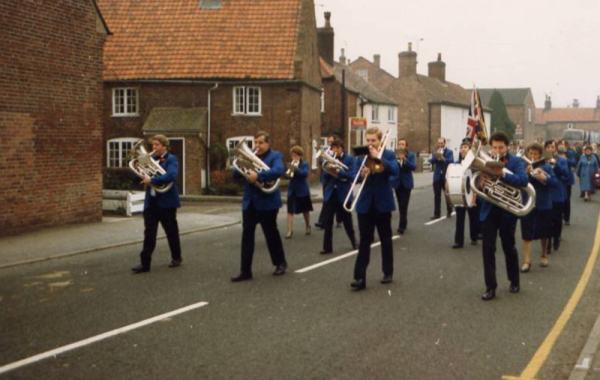 Marching and playing.