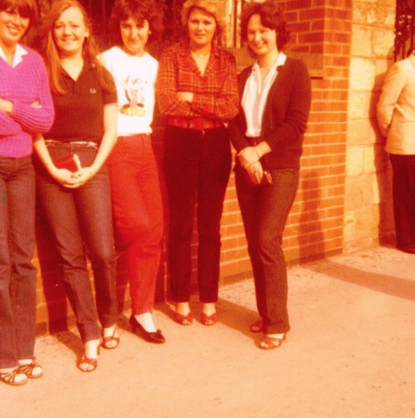 Early 1980s: Five girls outside the church