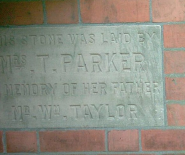 Foundation stone on the Baptist Church