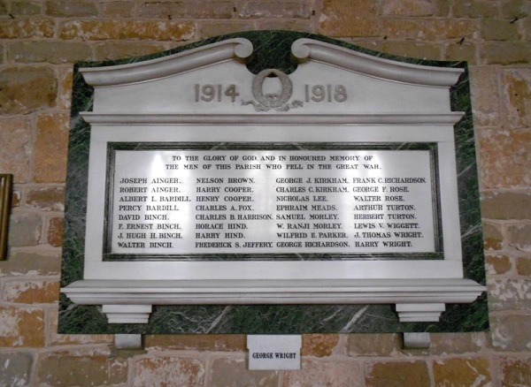 First World War Memorial in St Wilfrids Church