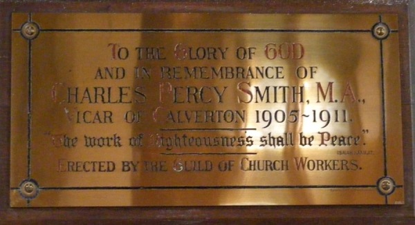 Brass plate remembering Charles Percy Smith