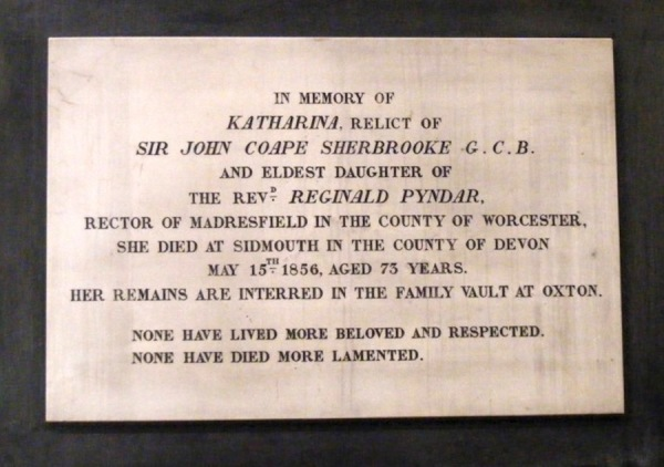 Plaque remembering Katharina Sherbrooke
