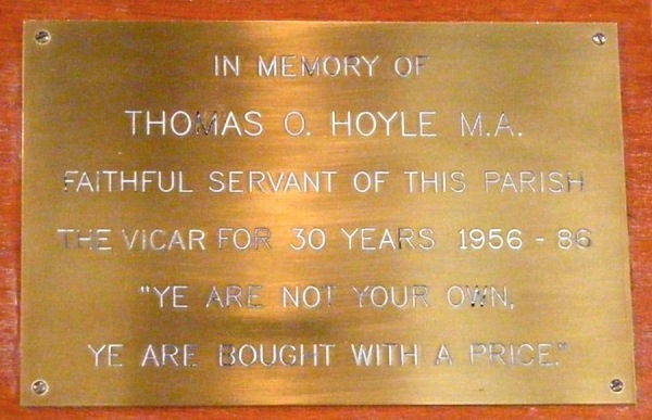 Plaque for Vicar Thomas O. Hoyle