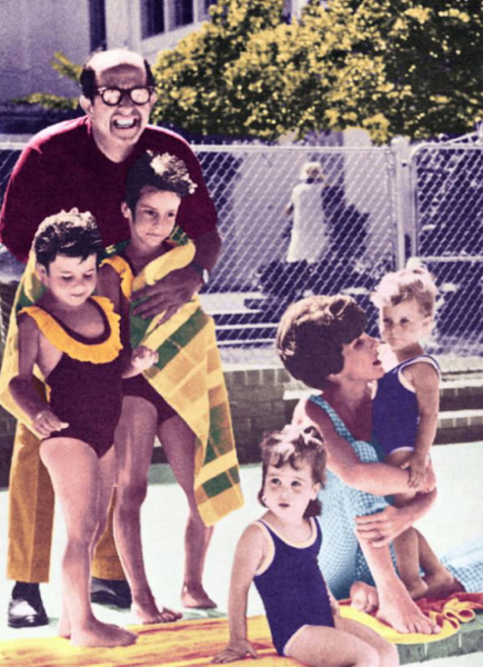 Circa 1963: By the pool are, left to right, Nancey, Tracey, Candace, Evelyn and Cathy