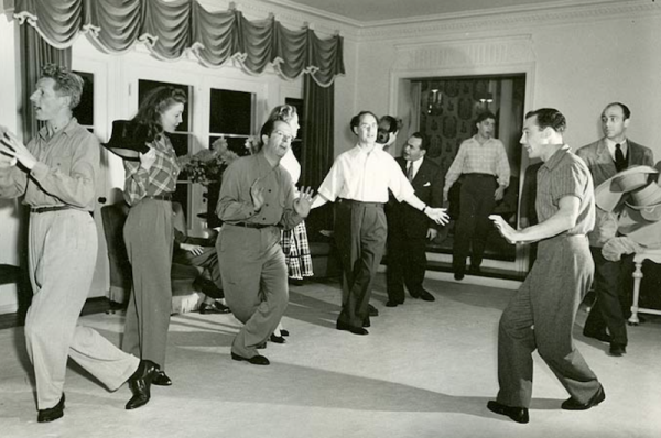 Rehearsals for a benefit for the First Lady of USA, Eleanor Roosevelt - Among those following Gene Kelly's lead are Edward G. Robinson, Danny Kaye, Phil and Groucho Marx