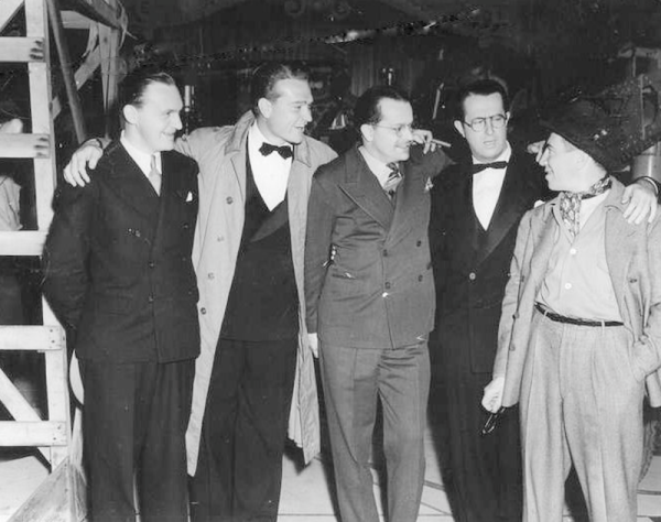 Everett C. Callow (International Vice President of Public Affairs at Cinerama),  Red Skelton, an unknown man & Chico Marx