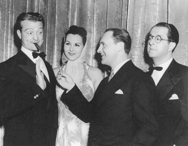 Red Skelton, Everett C. Callow (International Vice President of Public Affairs at Cinerama) and an unknown lad