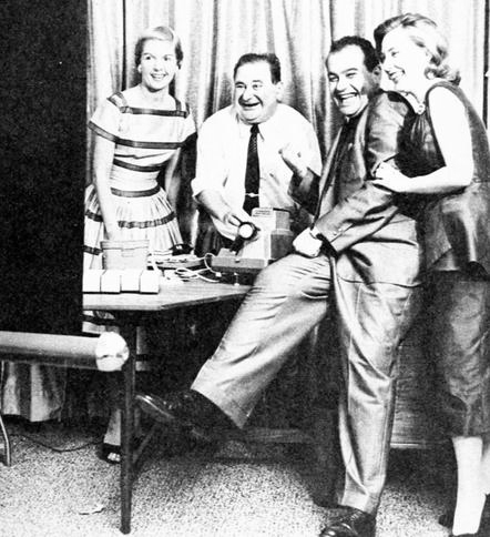 With actress Russell Lee (striped dress), Bernie Fein and his wife, Kay