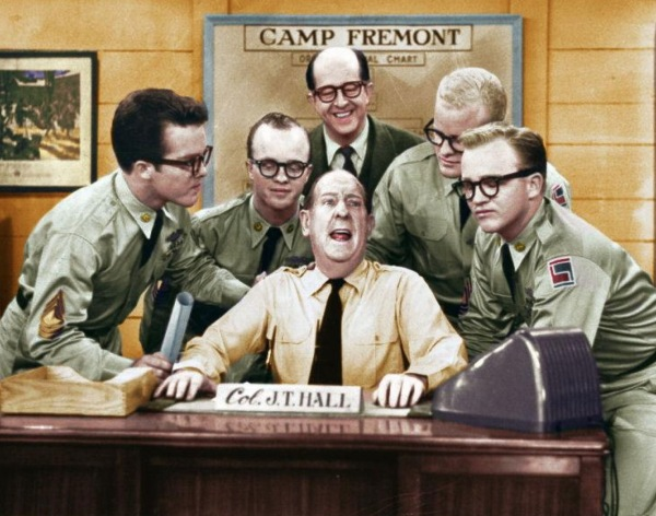 Colonel Hall, centre, with Bilko and the Crosby clan.