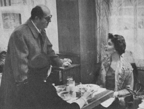 The actor's best girl is the television actress Evelyn Patrick, shown  here meeting him in a small restaurant