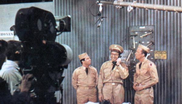 On friday afternoon the show goes before the cameras.  Here's Sergeant Bilko with his two closest henchmen, Cpls. Barbella (portrayed by Harvey Lembeck), left, and Henshaw (played by Allan Melvin)