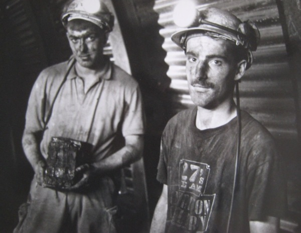 Miners underground during the filming of 'Into the Black'