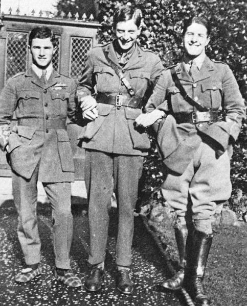 Posing in carpet slippers with brother Cyril and another fellow officer late 1916.