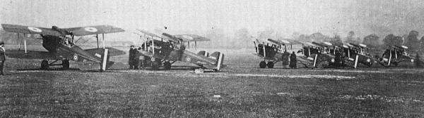 London Colney early morning April 7, 1917, SE5's from 56 Squadron about to fly over to France.