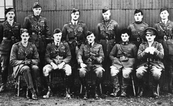 March, 1917 : 56 Squadron pilots at London Colney.  Back row left to right, Gerald C. Maxwell, W.B. Melville, H.M.T. Lehmann, C.R.W. Wright, L. Barlow, K.J. Knagges. Front row left to right, C.A. Lewis, J.O. Leach,  R.G. Blomfield, Albert Ball, R.C. Hodge