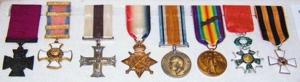 Housed in the Sherwood Foresters Regimental section of Nottingham Castle Left to right: Victoria Cross, Distinguished Service Order (2 Bars), Military Cross,  1914-15 Star, British War Medal, Allied Victory Medal, Legion d'Honneur, Order of St. George.