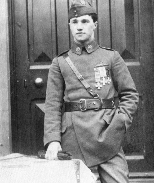 February 1917, wearing the DSO (two bars), MC and Russian Order of St. George (4th Class).
