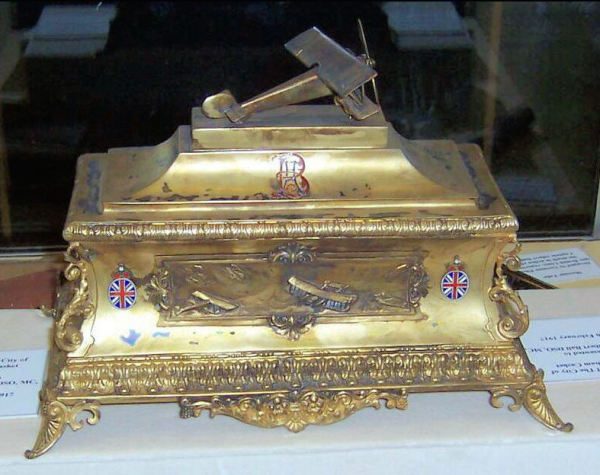 Front view of an award, presented to Albert, of the Honorary Freedom of Nottingham.