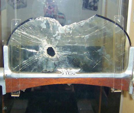 Avro manufactured windscreen - Pierced by a bullet, it was taken from one of Captain Ball's aeroplanes, possibly an experimental SE5.