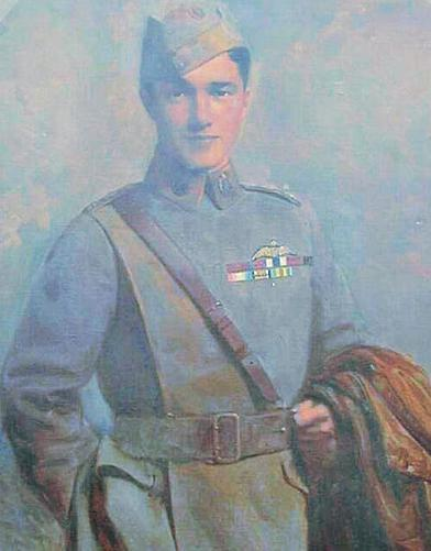 Colour portrait of Captain Ball - Found in the Fenn room of the college (Artist: Mr Denholm Davis 1917).
