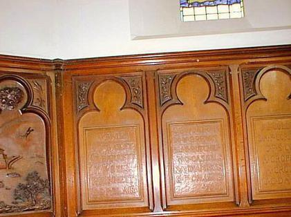 The Chancel panelling bears the names of all those who died in the great war. Below those names runs the inscription 'To those sons of Trent who loved our brotherhood and at the call of duty laid down their lives in the Great War 1914-1918'.....Also in the Chapel of the College you can locate Captain Ball's original grave marker.