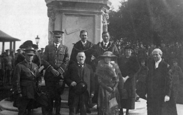 8th September 1921, Nottingham  The unveiling of the Albert Ball monument in the grounds of the city castle. The stunning tribute was unveiled on 8 September 1921 by Air Marshal Trenchard, with military honours including a flypast by a squadron of RAF aircraft.