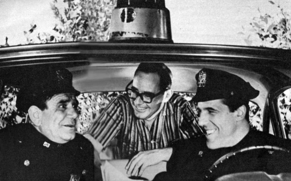 Joe E. Ross, Nat Hiken and Fred Gwynne having fun during a rehearsal.