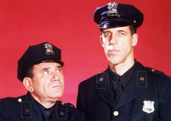 Early publicity shots had the dashing duo working at the 21st Precinct!