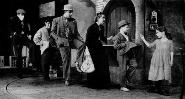 Fred, far left, as Stinker with Irwin Corey as Dirty Joe Jules, Jules Munshin as Poison Eddie Schellenbach, Helen Hayes as Mrs. Howard V. Larue III and Brandon de Wilde as the Boy.