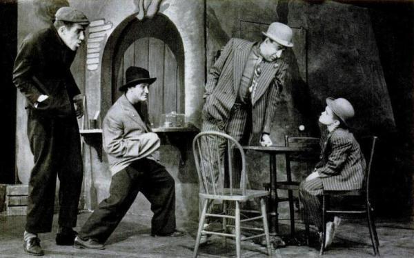 Fred, far left, as Stinker with Irwin Corey as Dirty Joe Jules, Jules Munshin as Poison Eddie Schellenbach and Brandon de Wilde as the Boy.