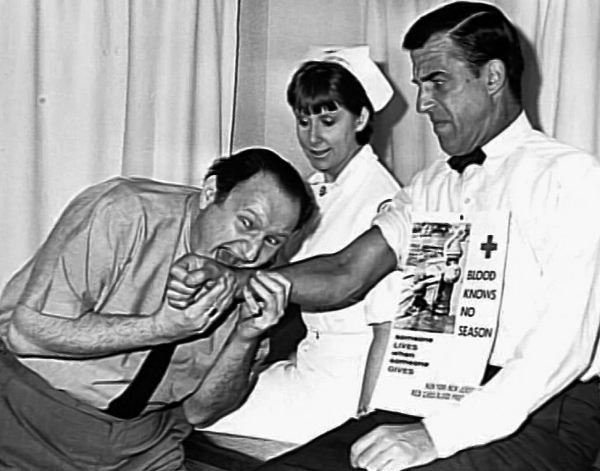 Al Lewis shows a nurse his blood sucking technique!