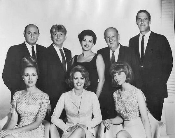 Publicity photo featuring casts of CBS shows in 1965, including actors from The Munsters, Gilligan's Island, The Baileys of Balboa, My Living Doll, and Many Happy Returns.
