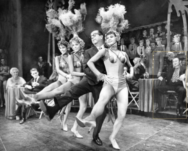 Phil Silvers, as Hubie Cram, with the dancing girls of Do Re Mi. Al (Moe Shtarker) highlighted.