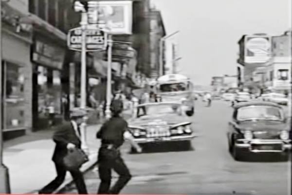 Home Sweet Sing Sing -- 1961 --  with the great Gene Baylos. Here's Bennie the Bookie crossing Tremont Ave at Mapes in my neighborhood of East Tremont, the Bronx. The same view looking west on Tremont nowadays.