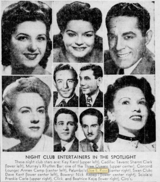 Philadelphia - February 1947. Nightclub entertainers in the spotlight.