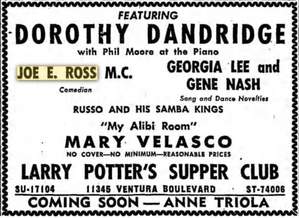 Larry Potter's Supper Club - April 21 1950 - Emcee!