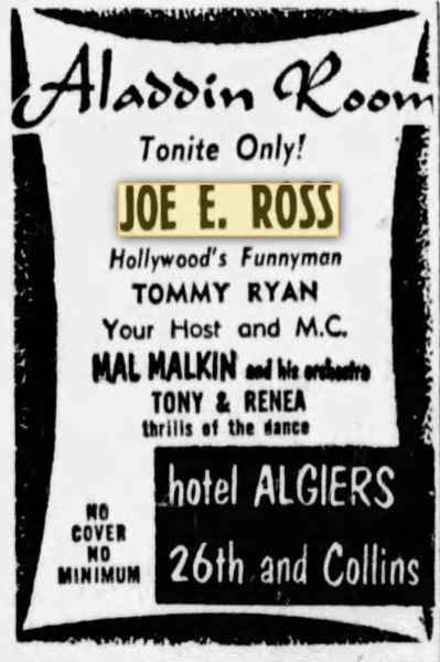 Still Resident comedian at the Miami Algiers Hotel (Aladdin room).