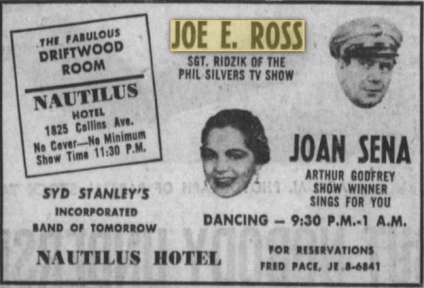 Miami - June 1957 - Booked for the Nautilus again - Pity about the spelling!