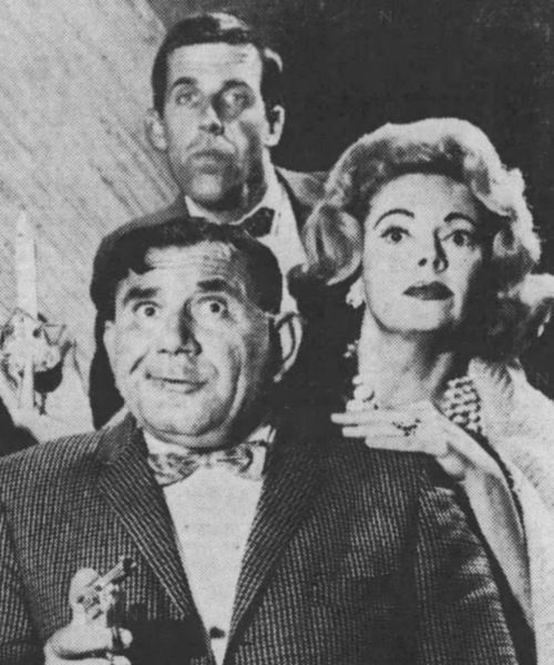 Terrified trio - Joe E. Ross (Chief Kennedy), Fred Gwynne (William Hallowell Magee) and Jayne Meadows (Myra) set out to explore the mysterious Baldpate Inn.