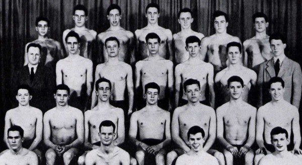 1951 Swimming side. Despite the fact that he had never swum before in competition, Fred won most of his events in the backstroke.