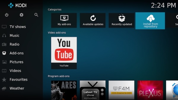 2. Go across  to install from repository. (Sometimes labelled Kodi Community)
